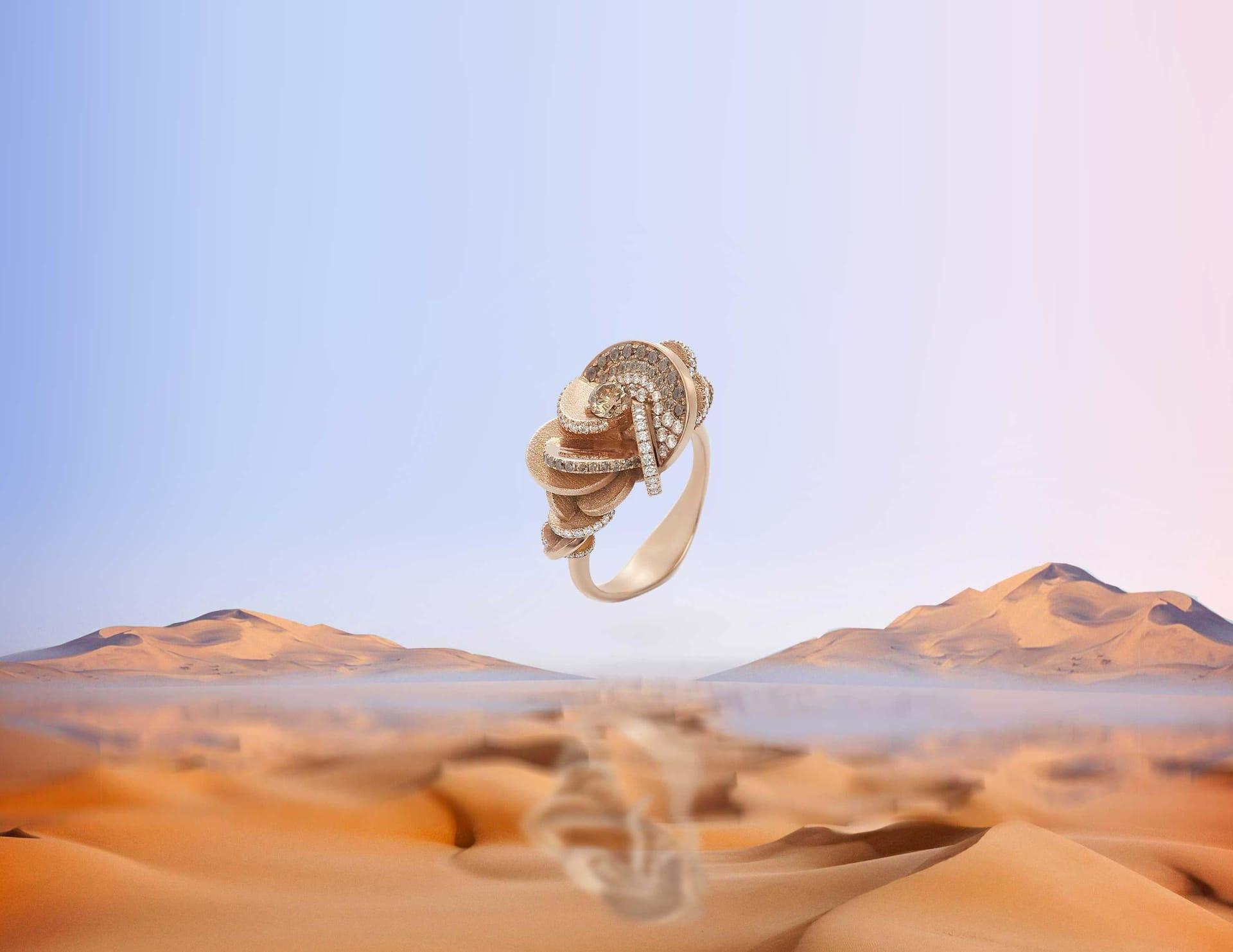 bague fleur rose des sables diamant